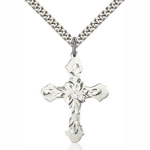 Sterling Silver 1 1/4in Baroque Cross Pendant with 3mm Crystal Bead & 24in Chain