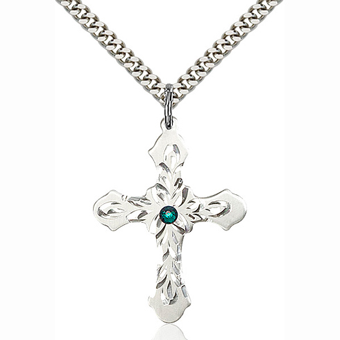 Sterling Silver 1 1/4in Baroque Cross Pendant with 3mm Emerald Bead & 24in Chain