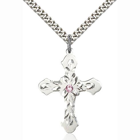 Sterling Silver 1 1/4in Baroque Cross Light Amethyst Bead 24in Chain