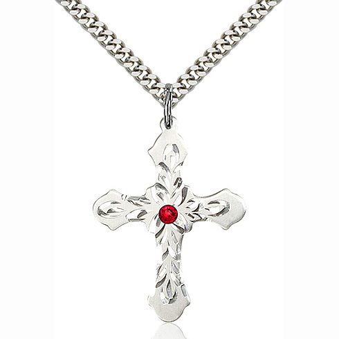Sterling Silver 1 1/4in Baroque Cross Pendant with 3mm Ruby Bead & 24in Chain