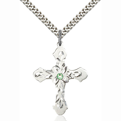 Sterling Silver 1 1/4in Baroque Cross Pendant with 3mm Peridot Bead & 24in Chain