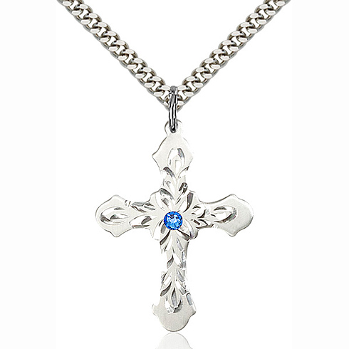 Sterling Silver 1 1/4in Baroque Cross Pendant with 3mm Sapphire Bead & 24in Chain