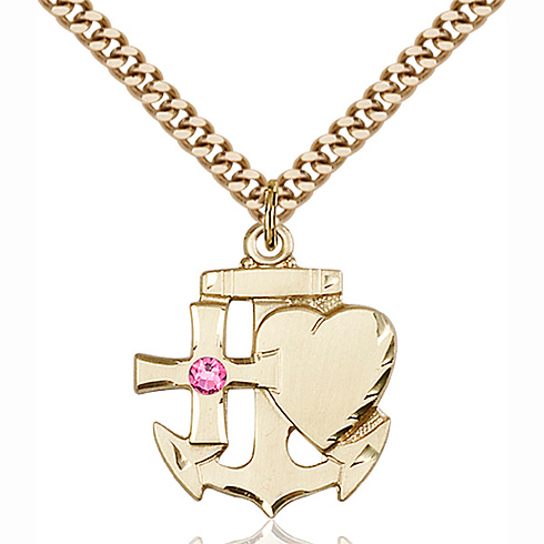 Gold Filled 7/8in Faith Hope & Charity Pendant with 3mm Rose Bead & 24in Chain