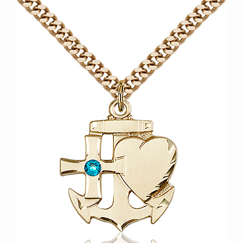 Gold Filled 7/8in Faith Hope & Charity Pendant with 3mm Zircon Bead & 24in Chain