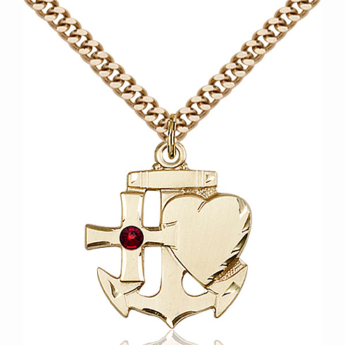 Gold Filled 7/8in Faith Hope & Charity Pendant with 3mm Garnet Bead & 24in Chain
