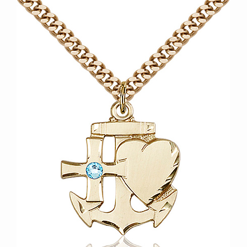 Gold Filled 7/8in Faith Hope & Charity Pendant with 3mm Aqua Bead & 24in Chain