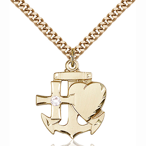 Gold Filled 7/8in Faith Hope & Charity Pendant with 3mm Crystal Bead & 24in Chain