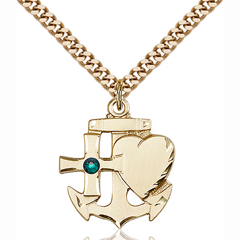 Gold Filled 7/8in Faith Hope & Charity Pendant with 3mm Emerald Bead & 24in Chain