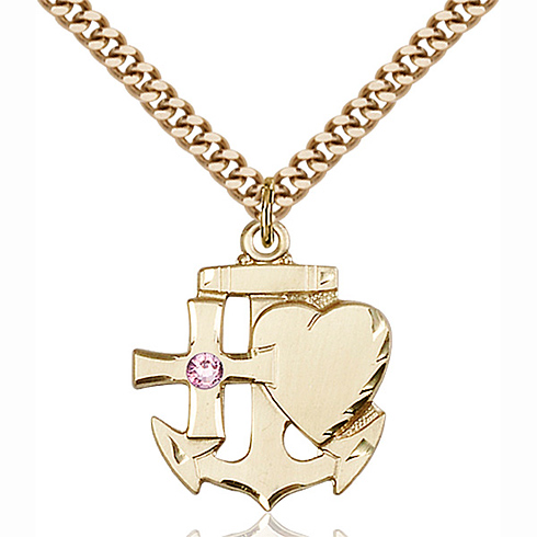 Gold Filled 7/8in Faith Hope & Charity Pendant with 3mm Light Amethyst Bead & 24in Chain