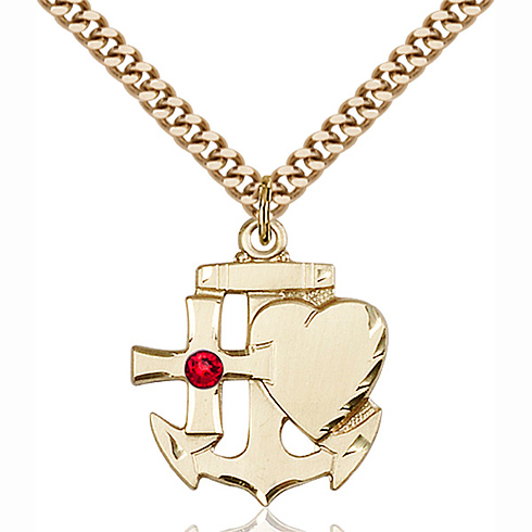 Gold Filled 7/8in Faith Hope & Charity Pendant with 3mm Ruby Bead & 24in Chain