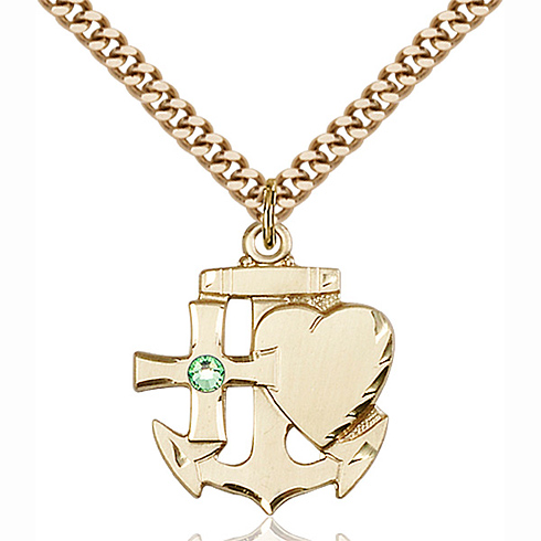 Gold Filled 7/8in Faith Hope & Charity Pendant with 3mm Peridot Bead & 24in Chain