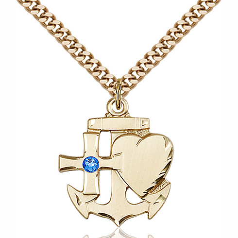 Gold Filled 7/8in Faith Hope & Charity Pendant with 3mm Sapphire Bead & 24in Chain