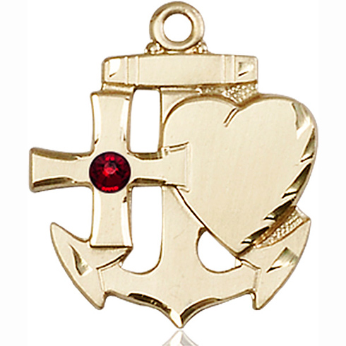 14kt Yellow Gold 7/8in Faith Hope & Charity Medal with 3mm Garnet Bead