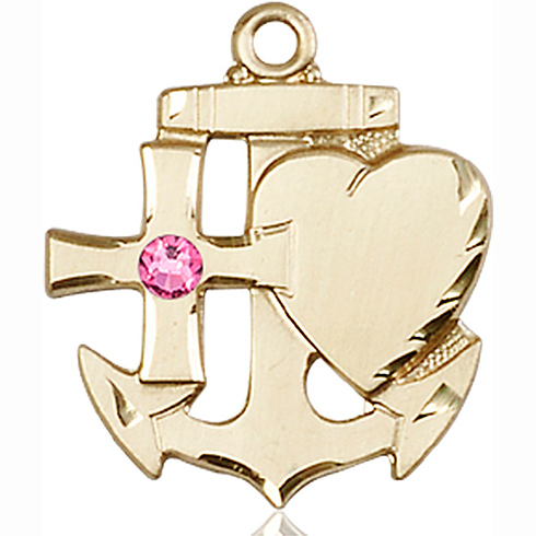 14kt Yellow Gold 7/8in Faith Hope & Charity Medal with 3mm Rose Bead