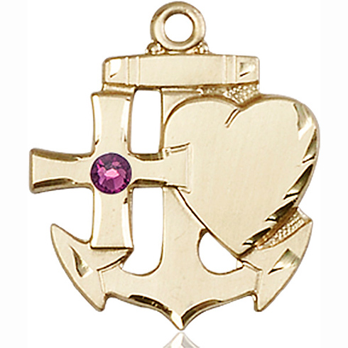 14kt Yellow Gold 7/8in Faith Hope & Charity Medal with 3mm Amethyst Bead