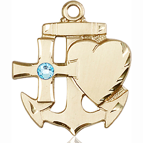 14kt Yellow Gold 7/8in Faith Hope & Charity Medal with 3mm Aqua Bead