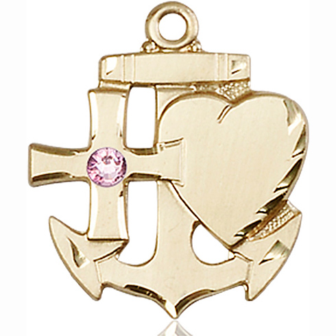 14kt Yellow Gold 7/8in Faith Hope & Charity Medal with 3mm Light Amethyst Bead