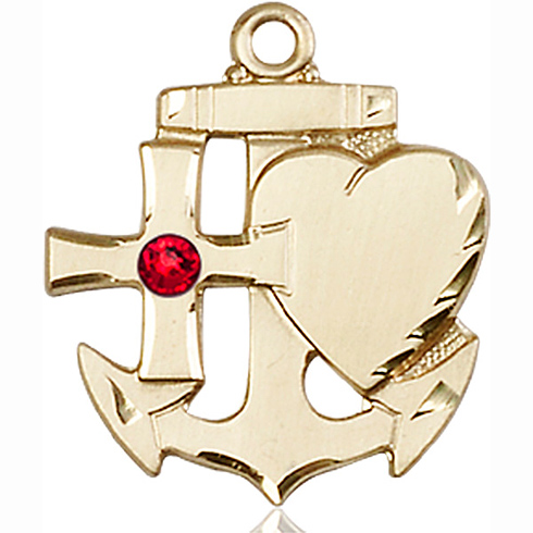 14kt Yellow Gold 7/8in Faith Hope & Charity Medal with 3mm Ruby Bead