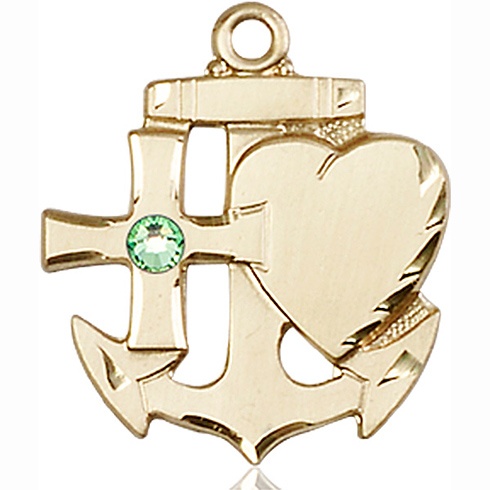 14kt Yellow Gold 7/8in Faith Hope & Charity Medal with 3mm Peridot Bead