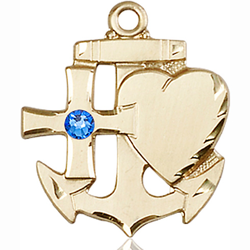 14kt Yellow Gold 7/8in Faith Hope & Charity Sapphire Bead Medal