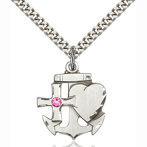 Sterling Silver 7/8in Faith Hope & Charity Pendant with 3mm Rose Bead & 24in Chain