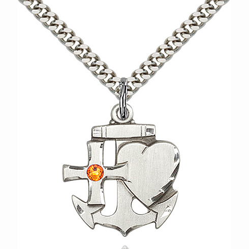 Sterling Silver 7/8in Faith Hope & Charity Pendant with 3mm Topaz Bead & 24in Chain