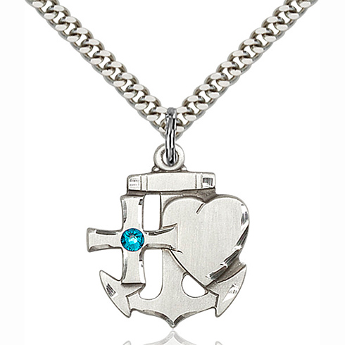 Sterling Silver 7/8in Faith Hope & Charity Pendant with 3mm Zircon Bead & 24in Chain
