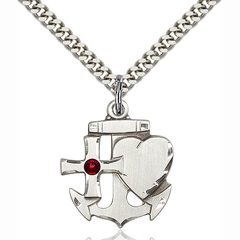 Sterling Silver 7/8in Faith Hope & Charity Pendant with 3mm Garnet Bead & 24in Chain