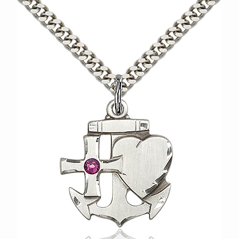 Sterling Silver 7/8in Faith Hope & Charity Pendant with 3mm Amethyst Bead & 24in Chain