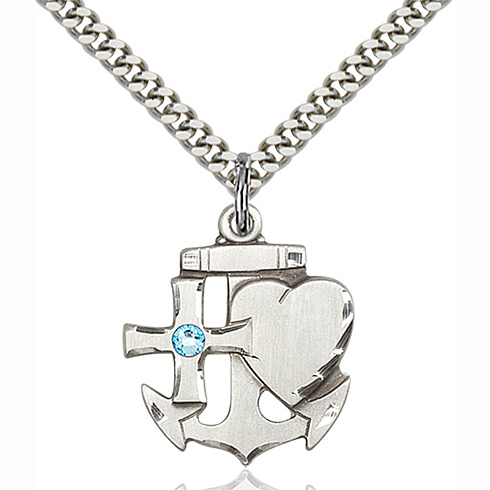 Sterling Silver 7/8in Faith Hope & Charity Pendant with 3mm Aqua Bead & 24in Chain