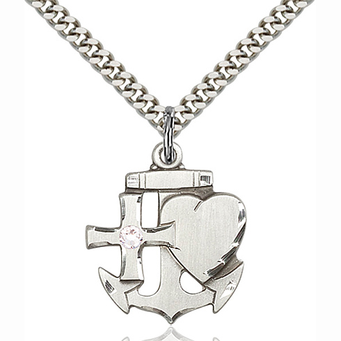 Sterling Silver 7/8in Faith Hope & Charity Pendant with 3mm Crystal Bead & 24in Chain