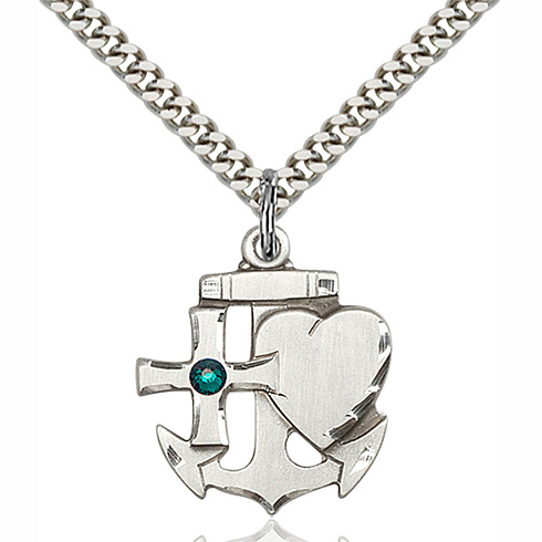 Sterling Silver 7/8in Faith Hope & Charity Pendant with 3mm Emerald Bead & 24in Chain