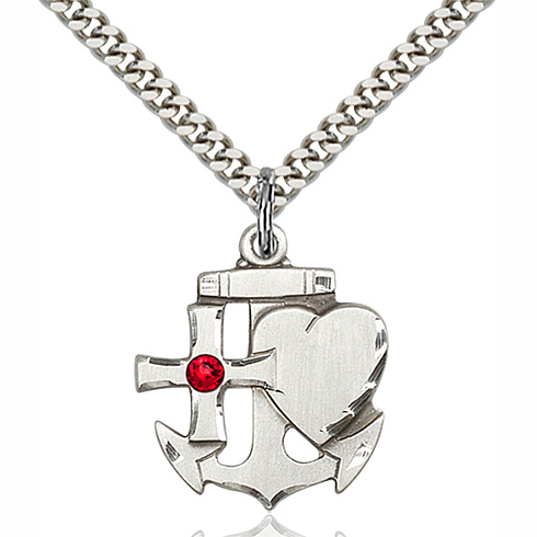 Sterling Silver 7/8in Faith Hope & Charity Pendant with 3mm Ruby Bead & 24in Chain
