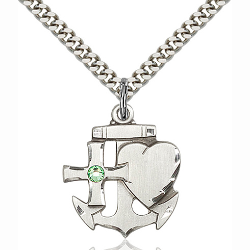 Sterling Silver 7/8in Faith Hope & Charity Pendant with 3mm Peridot Bead & 24in Chain