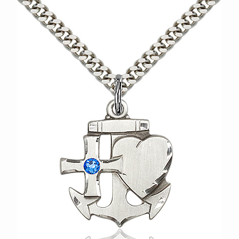 Sterling Silver 7/8in Faith Hope & Charity Pendant with 3mm Sapphire Bead & 24in Chain