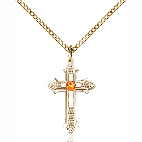 Gold Filled 7/8in Cross on Cross Pendant with 3mm Topaz Bead & 18in Chain
