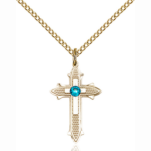 Gold Filled 7/8in Cross on Cross Pendant with 3mm Zircon Bead & 18in Chain