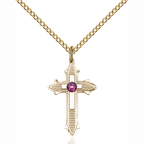 Gold Filled 7/8in Cross on Cross Pendant with 3mm Amethyst Bead & 18in Chain