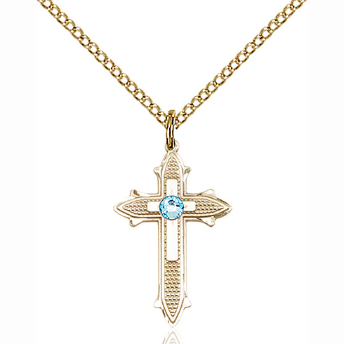 Gold Filled 7/8in Cross on Cross Pendant with 3mm Aqua Bead & 18in Chain