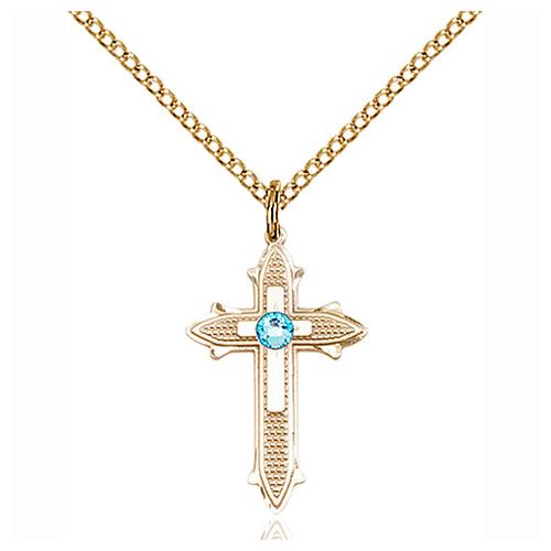 Gold Filled 7/8in Aqua Bead Cross Pendant & 18in Chain