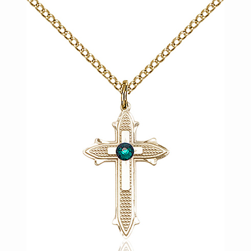 Gold Filled 7/8in Cross on Cross Pendant with 3mm Emerald Bead & 18in Chain