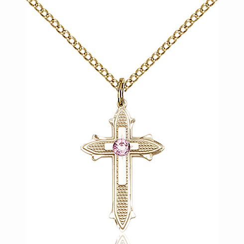 Gold Filled 7/8in Cross on Cross Pendant with 3mm Light Amethyst Bead & 18in Chain