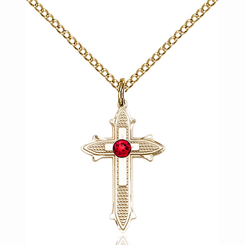 Gold Filled 7/8in Cross on Cross Pendant with 3mm Ruby Bead & 18in Chain