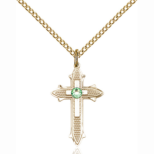 Gold Filled 7/8in Cross on Cross Pendant with 3mm Peridot Bead & 18in Chain
