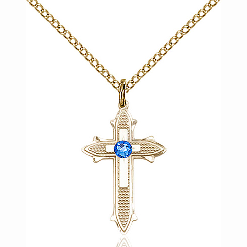 Gold Filled 7/8in Sapphire Bead Cross Pendant & 18in Chain