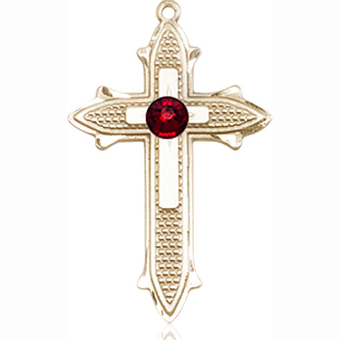 14kt Yellow Gold 7/8in Cross on Cross Medal with 3mm Garnet Bead