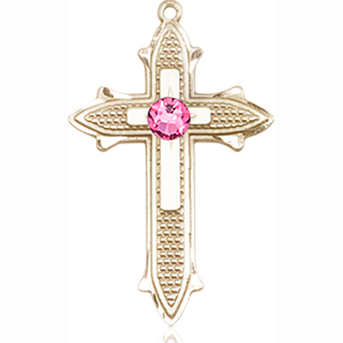 14kt Yellow Gold 7/8in Cross on Cross Medal with 3mm Rose Bead