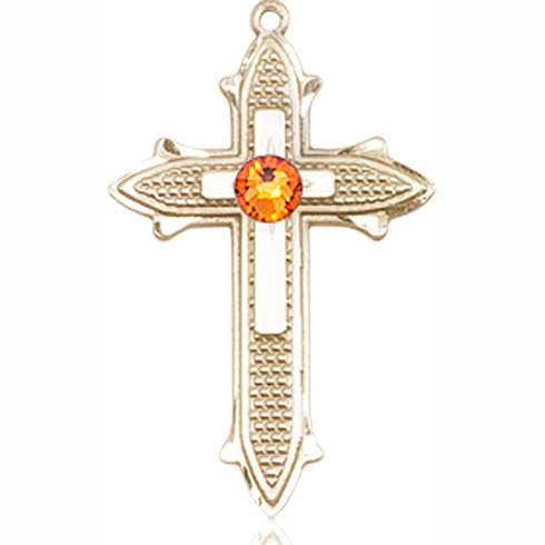 14kt Yellow Gold 7/8in Cross on Cross Medal with 3mm Topaz Bead