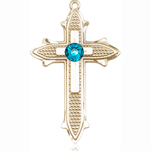 14kt Yellow Gold 7/8in Cross on Cross Medal with 3mm Zircon Bead