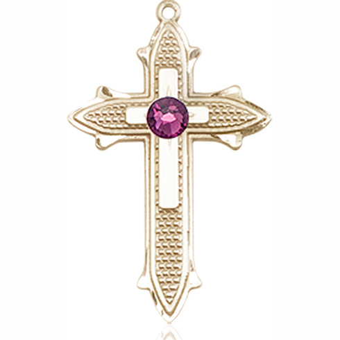 14kt Yellow Gold 7/8in Cross on Cross Medal with 3mm Amethyst Bead